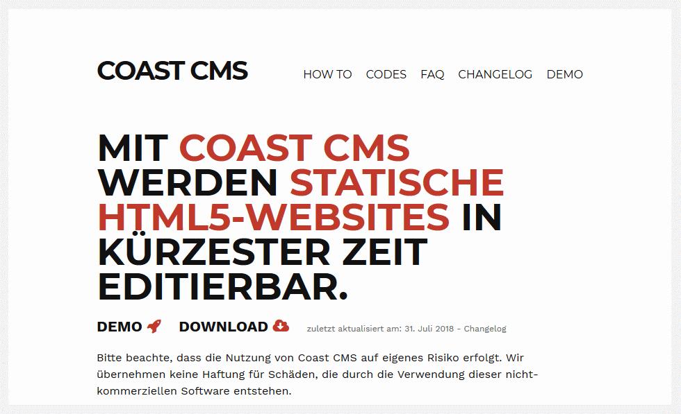 Das CMS Coast für statische Webseiten