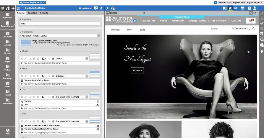 Die Autorenoberfläche CoreMedia Studio mit Split-Screen