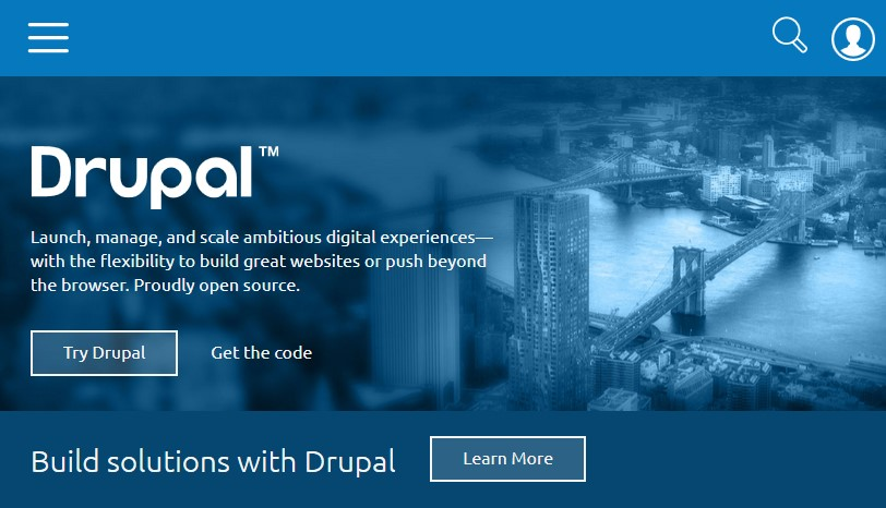Screenshot der Drupal-Website