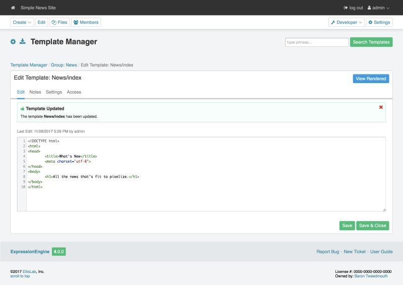 Der Template Manager von ExpressionEngine