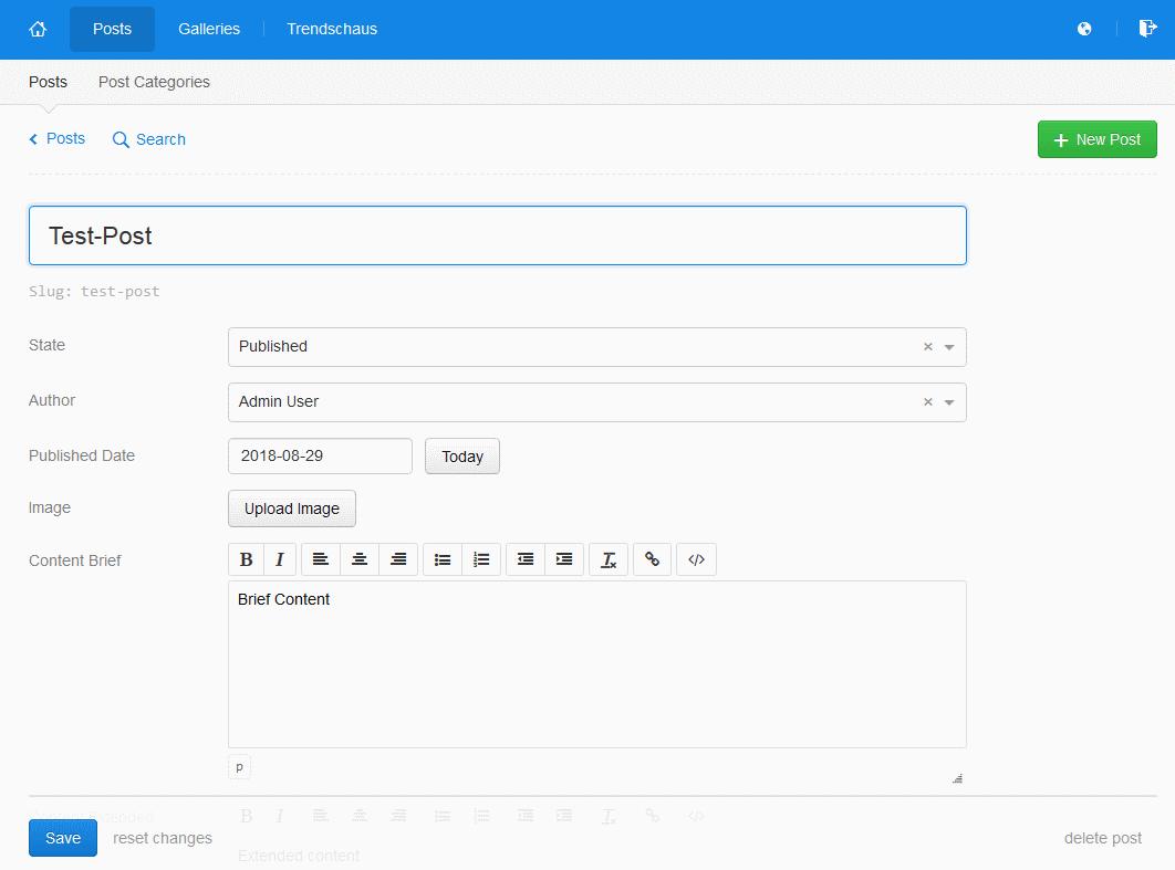 Die eher traditionelle Autoren-Oberfläche von KeystoneJS