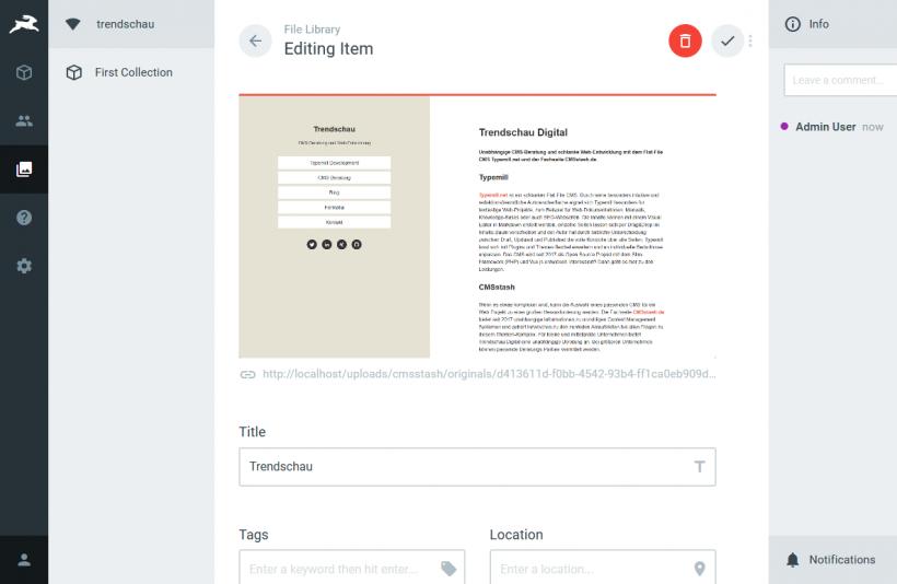 Screenshot Directus Media Management