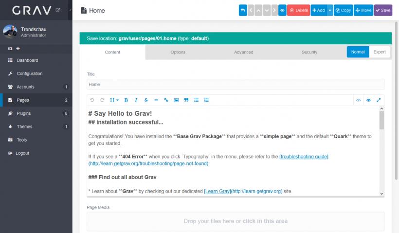 Screenshot Autorenoberfläche von Grav