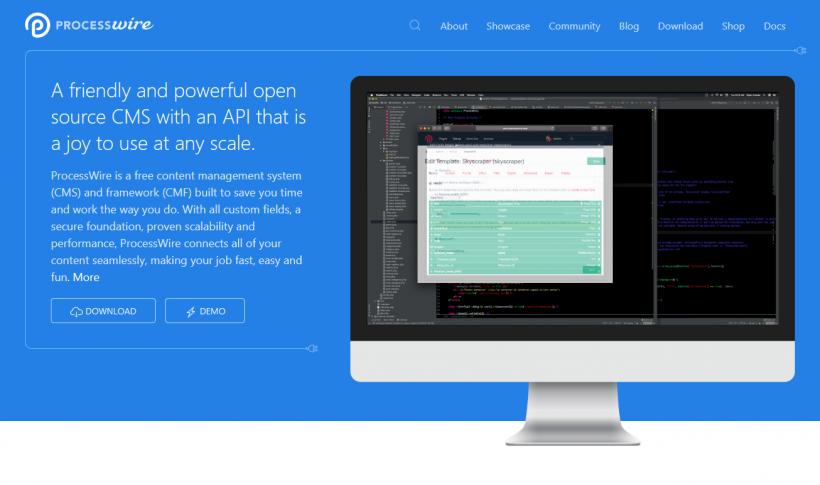 Screenshot ProcessWire Startseite
