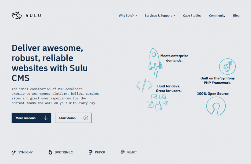 Screenshot Sulu Startseite
