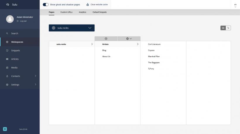 Screenshot Webspaces von Sulu CMS