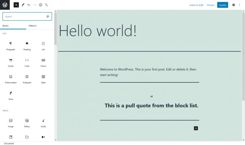 Screenshot WordPress Gutenberg Editor