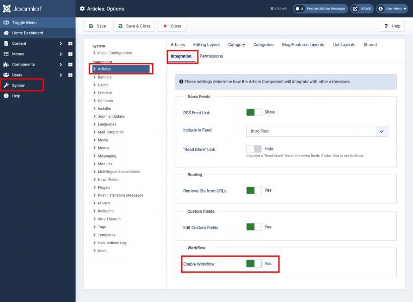 Workflows in Joomla! 4 aktivieren