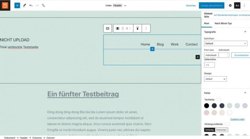 Screenshot Full-Site-Editor