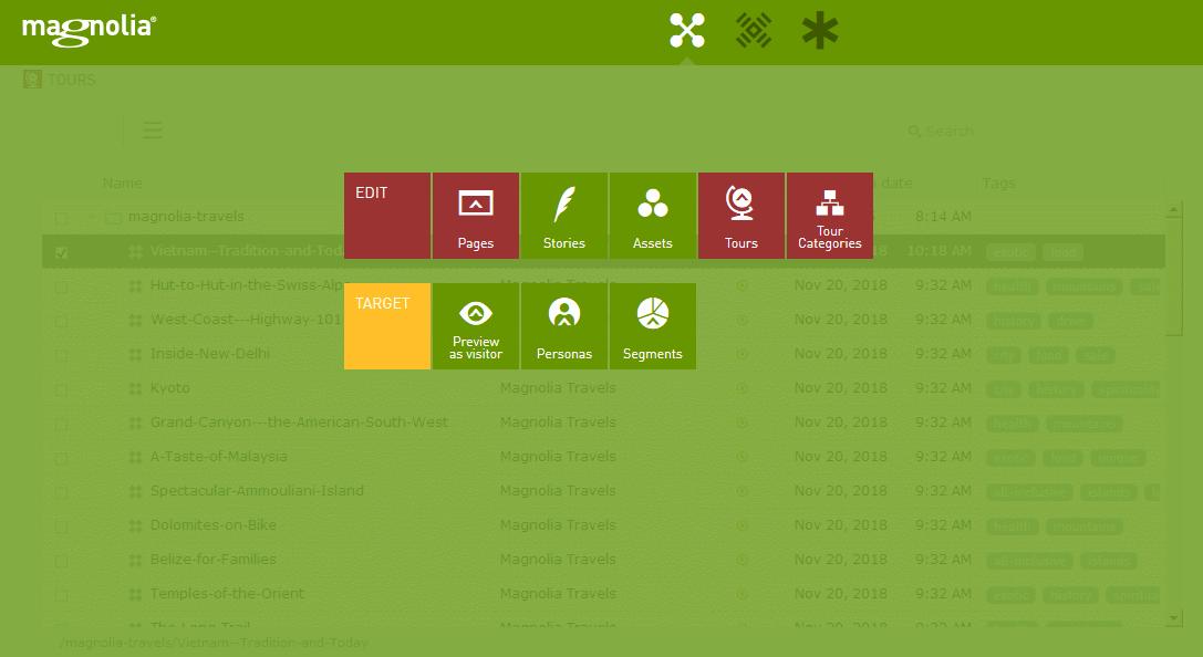 Das Magnolia-Dashboard mit den Apps