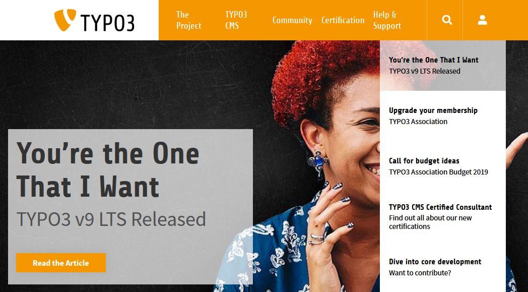 Startseite der TYPO3 Organisation