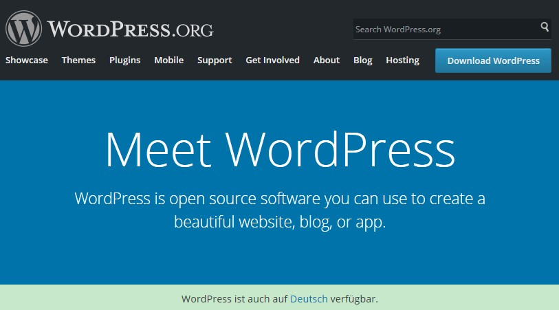 Screenshot der WordPress Startseite